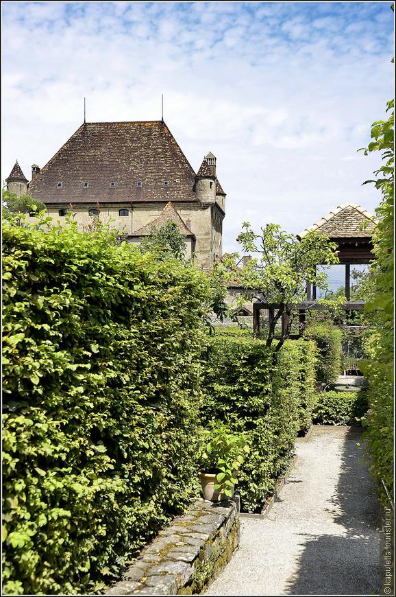 Сад разбит на территории огорода возле замка Ивуар. Вокруг него - высокая глухая стена. Так создавали микроклимат, защищали от ветров и добивались более раннего цветения растений и плодовых деревьев.