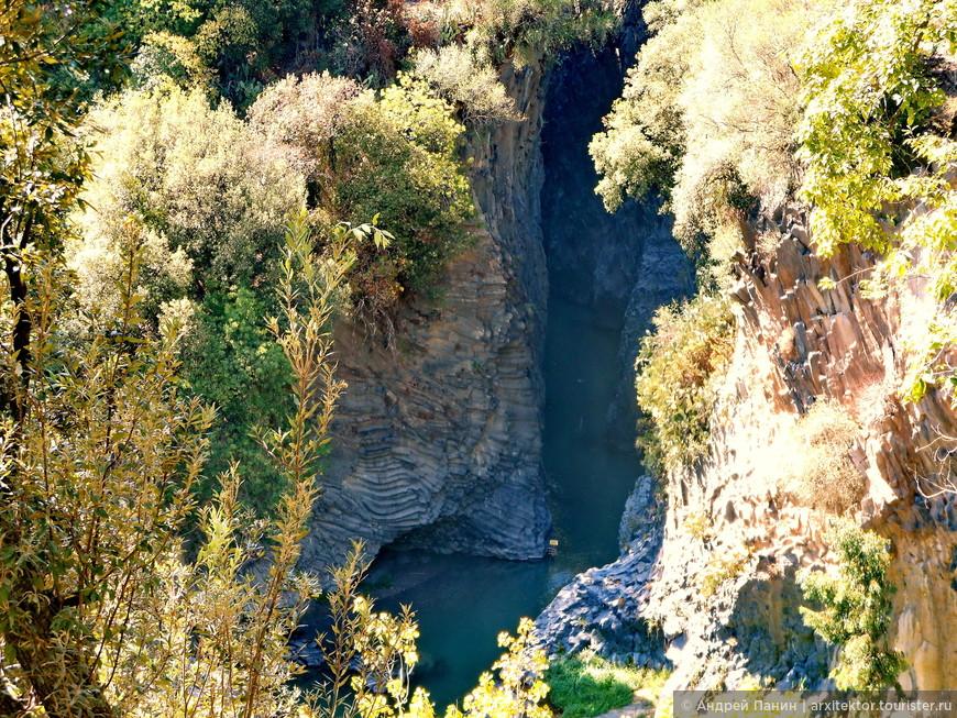 Вдоль крутых берегов ущелья проходит тропа. Это территория парка с различными растениями.