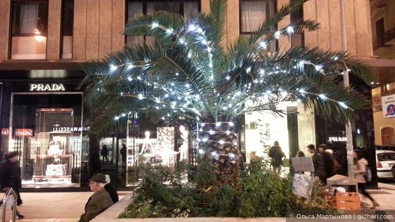 Вот такая вот зима в Бари с пальмами. Это фото было сделано на главной шоппинг улице виа Спарано.
