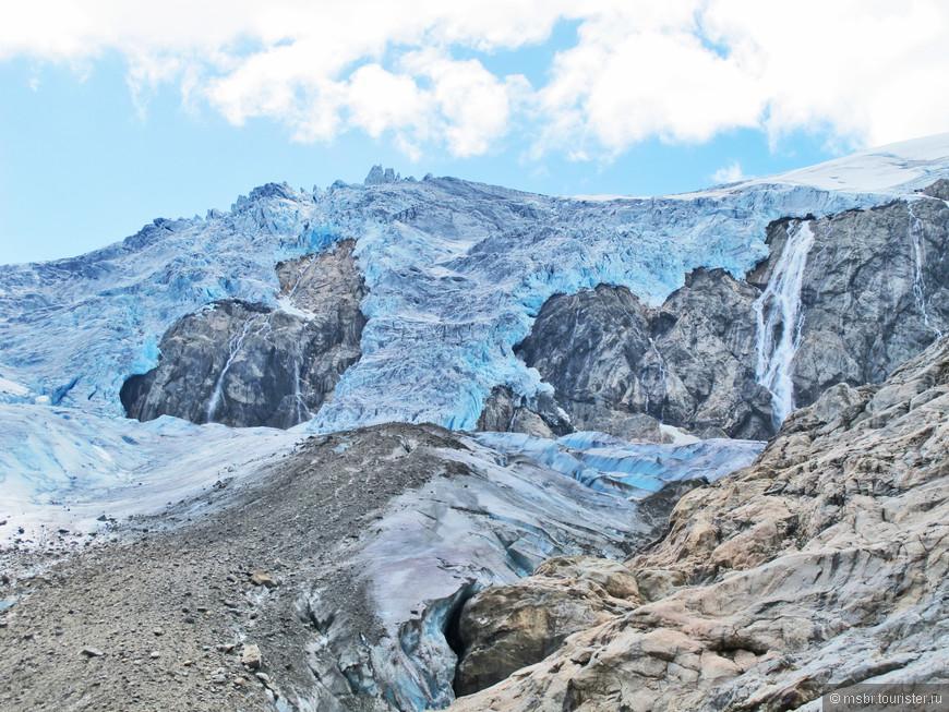 оказывается, ледники бывают грязными...... если присмотреться - серое - это грязь.... а голубое - сколы свежего льда