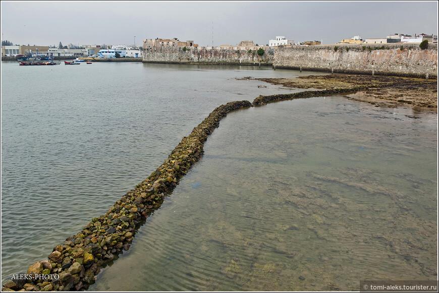 Крепость со стороны океана выглядит совсем не привлекательно: высокие стены скрывают за собой всю жизнь. А эта тайная дорожка обнажается лишь во время отлива. Когда вода вернется, ее уже не будет видно - она скроется под водой. Хитро придумали...