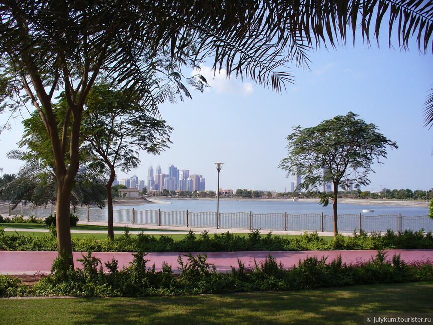 Вид на парковое озеро и район Tecom.