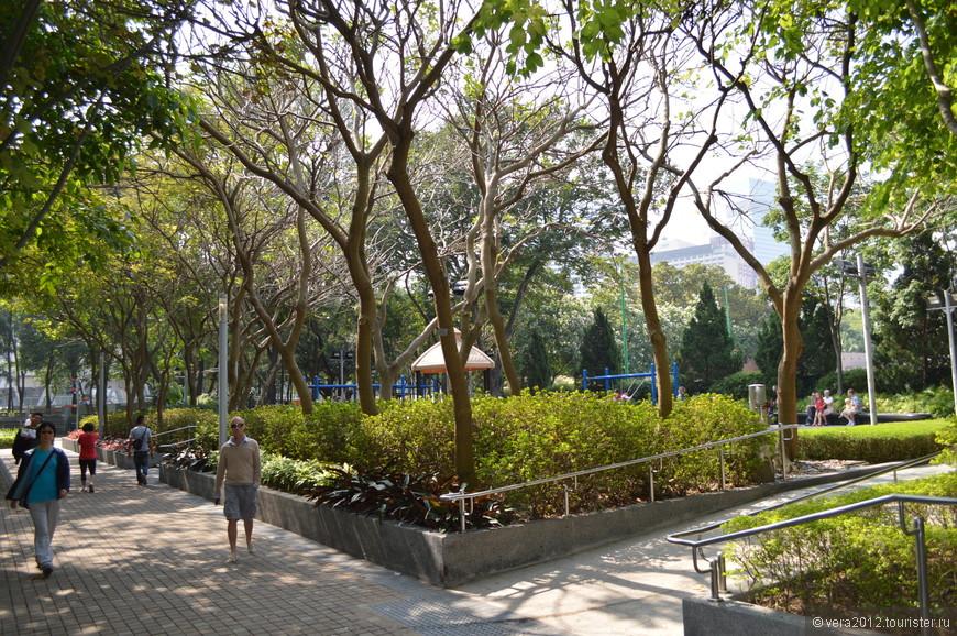 Парк состоит как бы из трех частей, плавно перетекающих друг в друга: спортивного комплекса, собственно парка (с детскими площадками, многочисленными местечками для отдыха в тени деревьев, прудами) и зоны для проведения общегородских праздничных мероприятий (например, Нового года), а также фестивалей, выставок и пр. Т.е., в отличие от Kong Kong Park, Victoria Park очень функциональный, и «любование природой» не является основной его задачей. Он очень «городской», динамичный, далекий от стиля традиционных китайских садов.