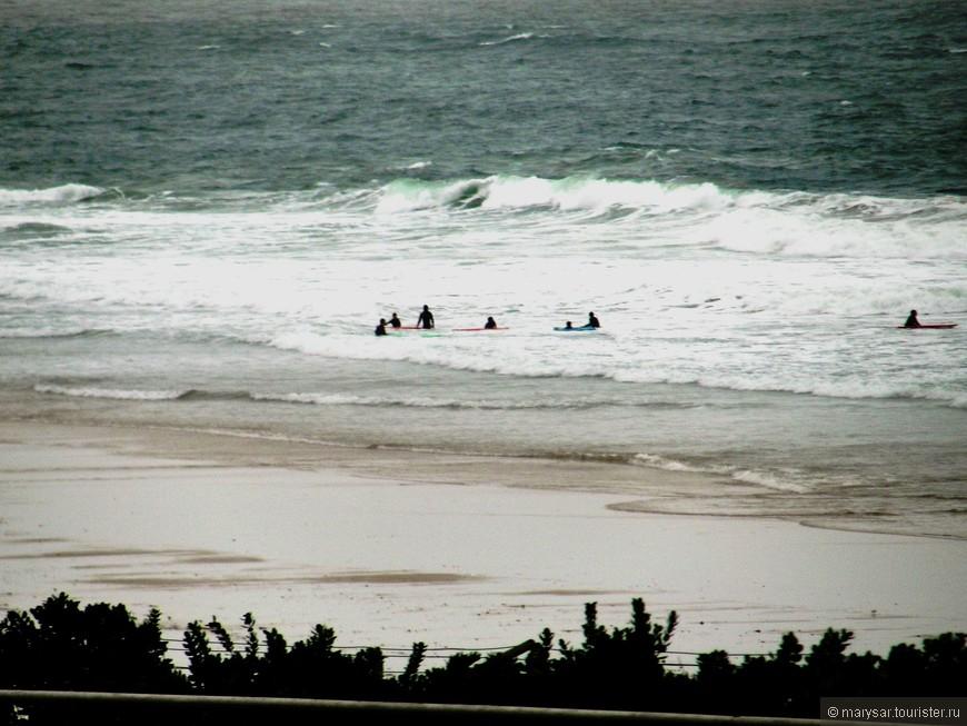 Традиционное новогоднее соревнование серферов в океанских водах.