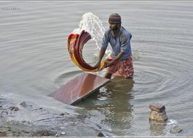 Большая стирка в реке Ямуна (Индия)