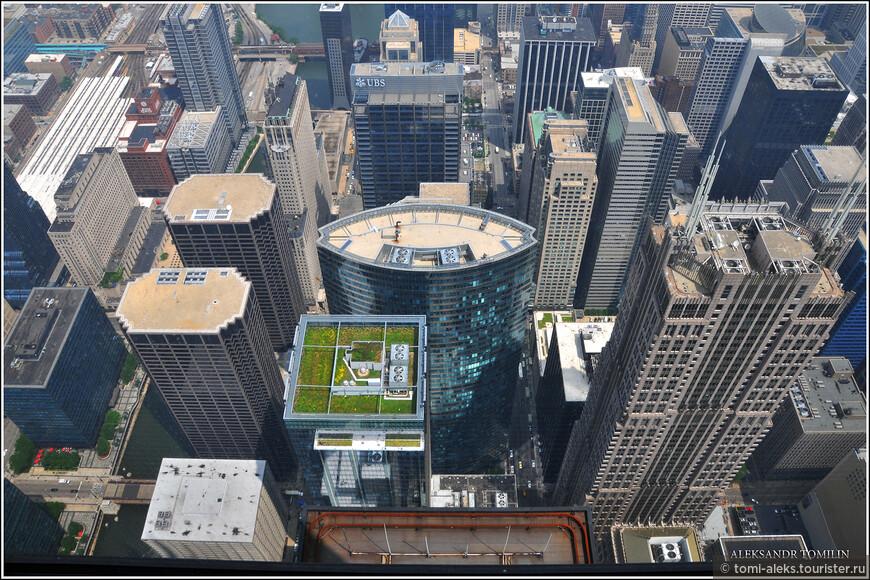 Ну, здесь что сказать - дух захватывает от такой панорамы внизу. Конечно, это - не Манхеттен в Нью-Йорке. Но тоже - не хило. На некоторых небоскребах есть вертолетные площадки, а вот на этом - переднем - даже зеленый палисадник разбит...