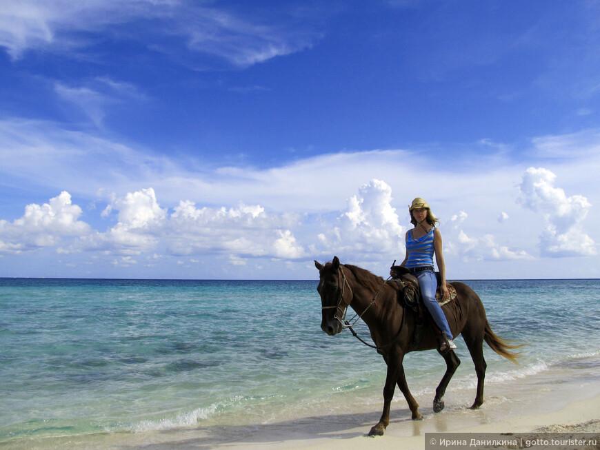 На Ривьере майя множество различных развлечений для туристов, катание на лошадях по берегу моря - одно из них