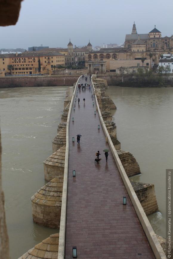 Живописный вид на Римский мост со смотровой площадки.