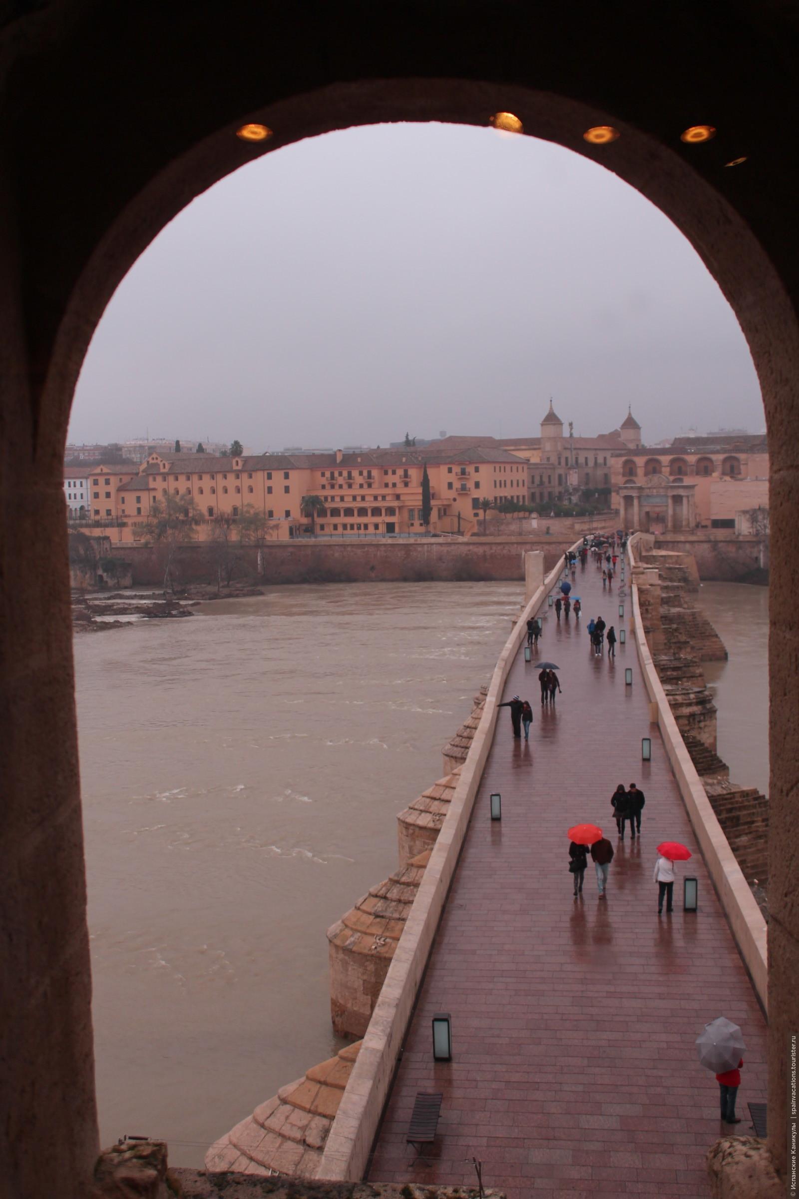 Знаменитый Римский мост в Кордобе. Местные жители наслаждаются дождиком и свежестью февраля. Летом здесь очень-очень жарко. , Кордова