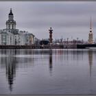 Вид с Адмиралтейской набережной на Университетскую набережную, здание Кунсткамеры и Дворцовый мост.