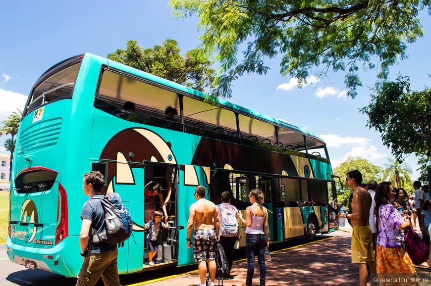на таком двухэтажном автобусе привозят к водопадам