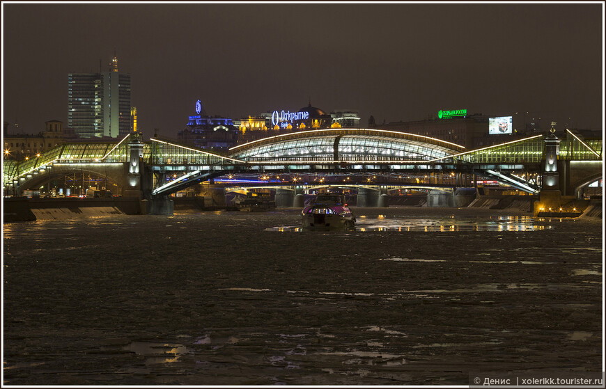 Пешеходный мост Богдана Хмельницкого: Настоящая зима: -10 градусов и ледокол в пути )