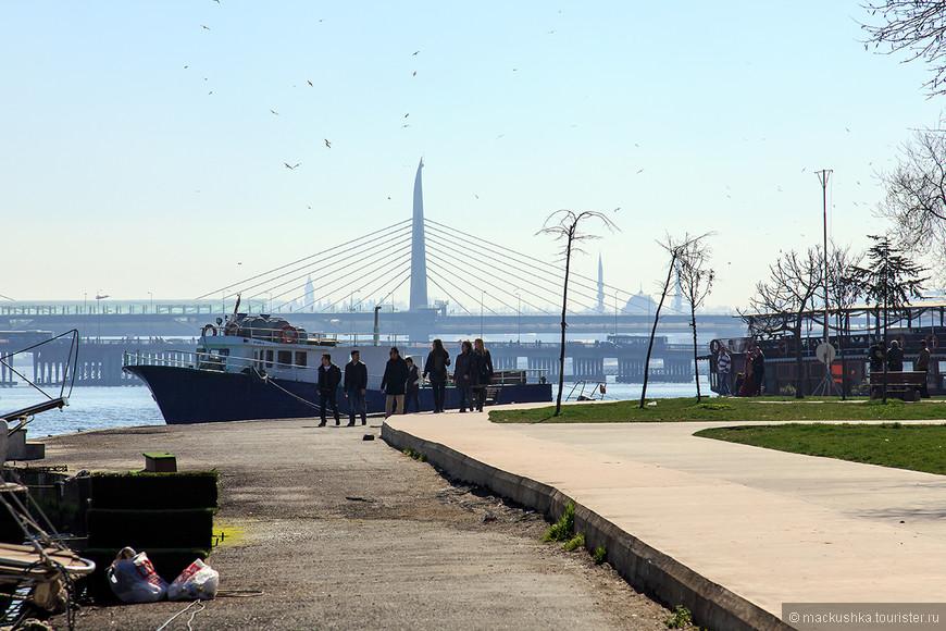 Впереди очертания моста Халич.