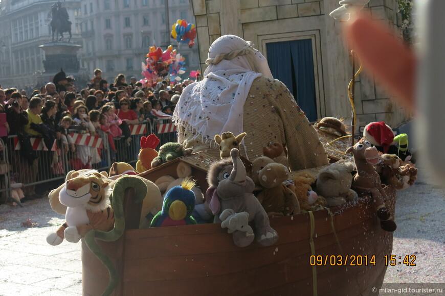 Особенно сзади видно, что речь идёт именно о Ноевом ковчаге, со всеми спасенными Ноем животными.