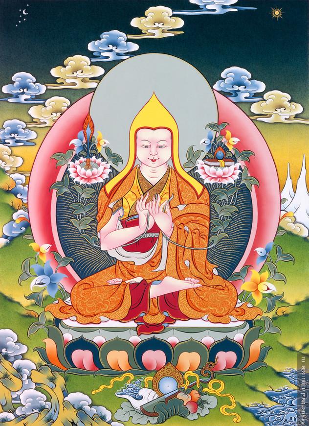 """Лама Зонхаба / 1357 - 1419 /. Тибет. Амдо. Лама Зонхаба творил знаменитый сутра """"Ламримченмо"""" который указал кратчайший путь к Просветлению.Лама Зонхаба указал три важный путь к Просветлению: Отречение, Бодхичитта и Шуньят."""