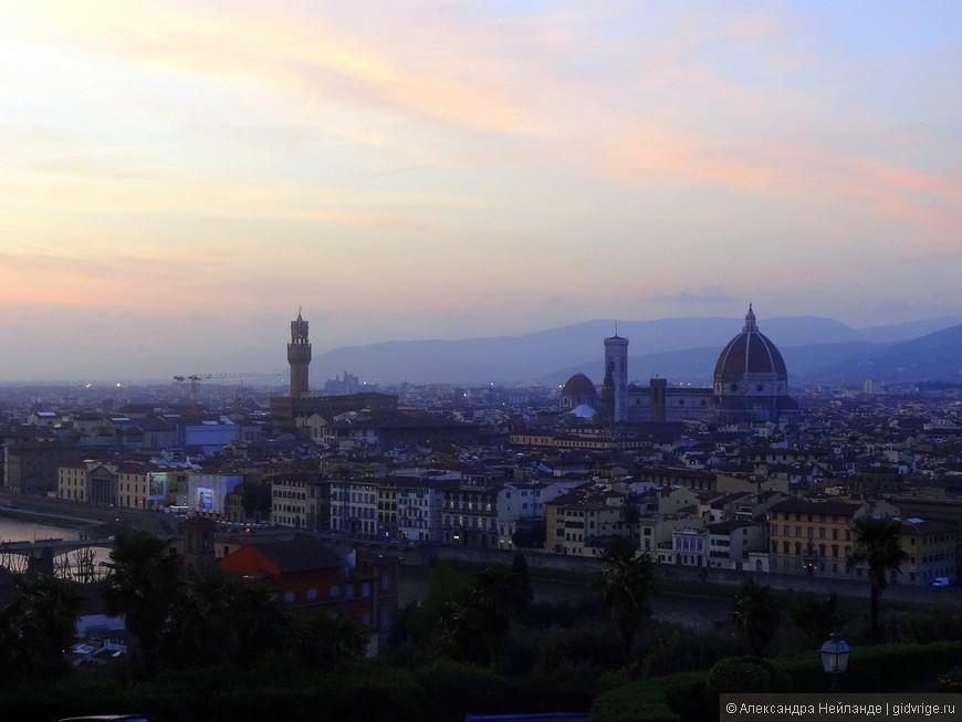 Знаменитый закат.  Вид с Пьяццалле Микеланджело.