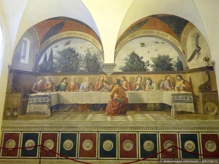 """На шаг впереди Леонардо.  Чудо Флоренции - """"Тайная вечеря"""" Гирландайо на стене трапезной церкви Онниссанти. По распространенной легенде - прообраз легендарной фрески Да Винчи в Милане."""