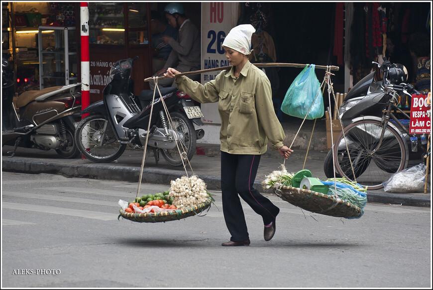 Вот этих колоритных разносчиц я полюбил еще в первую поездку в Азию, когда мы были в Таиланде. Уж, не знаю, что испытывает тот, кто несет такое коромысло на своих плечах, ведь груз часто бывает довольно тяжелым. Но со стороны носильщицы выглядят очень колоритно. И они никогда не возмущаются, что их снимают туристы...