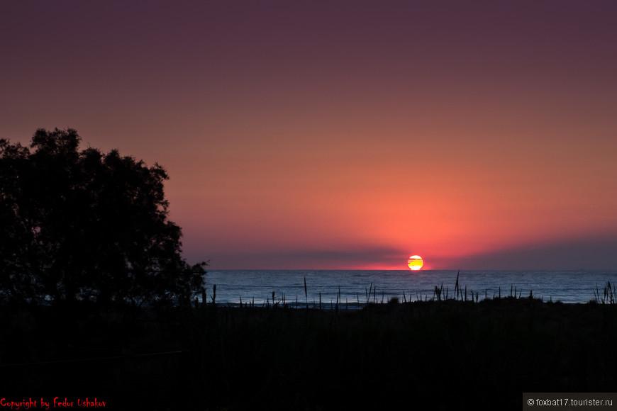 Огненный диск солнца отрывается от горизонта и устремляется к зениту.