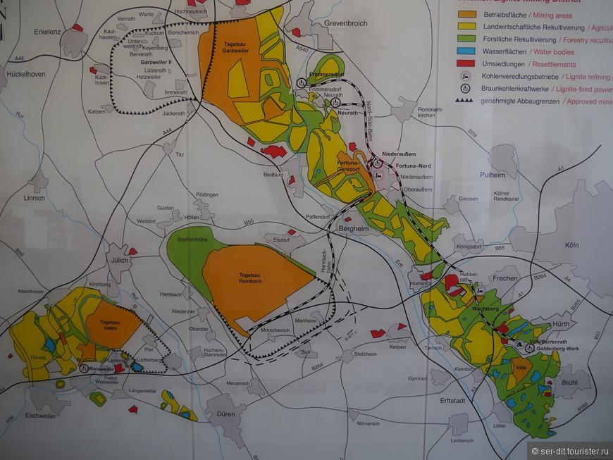 На схеме оранжевый карьер, зелёный и желтый рекультивированные земли.
