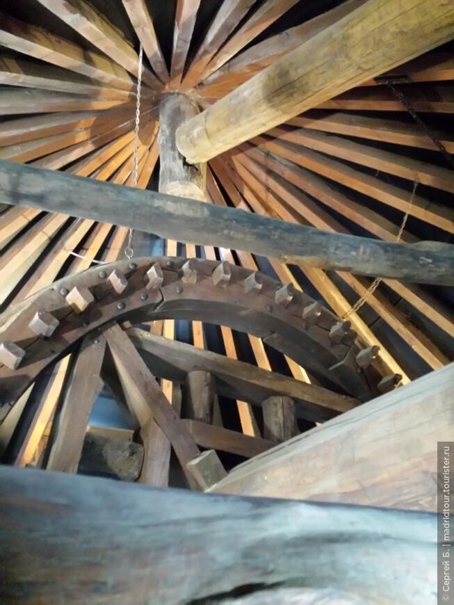 Деревянные механизмы внутри мельницы.