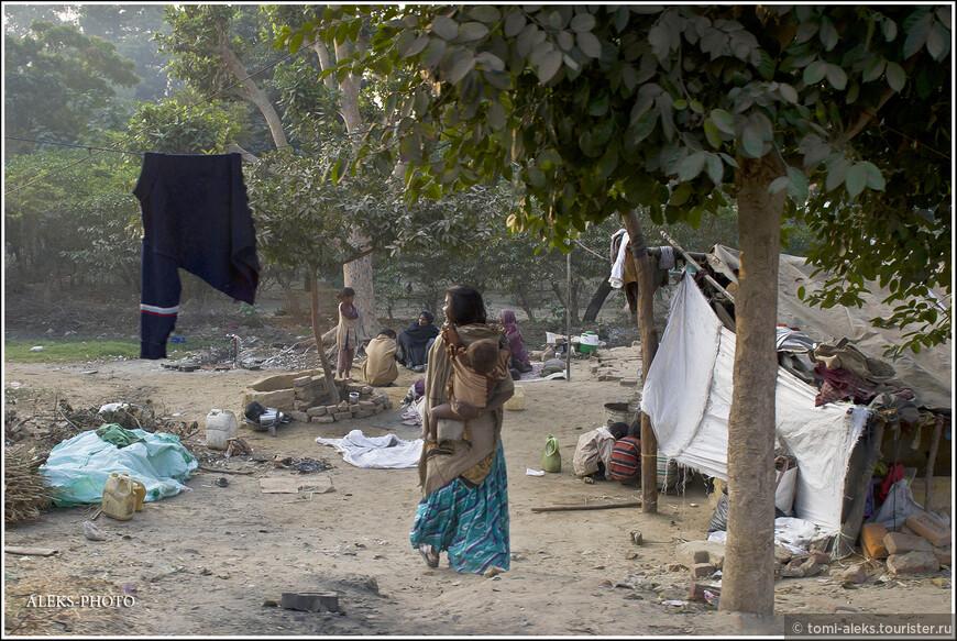 Вновь едем мимо палаточных трущоб. Вспоминается мне еще одно мнение, вычитанное мной в прессе, о том, что Индира Ганди хотела насильно расселить бедных индийцев в бетонные коробки. Но они, вопреки ожиданиям, их сжигали и вновь уходили бомжевать. Поистине удивительная страна...