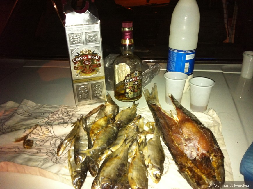 По возвращении в Бишкек, в три часа ночи, на капоте машины мы допивали вискарик с оригинальной закуской и кисломолочной запивкой. :-)
