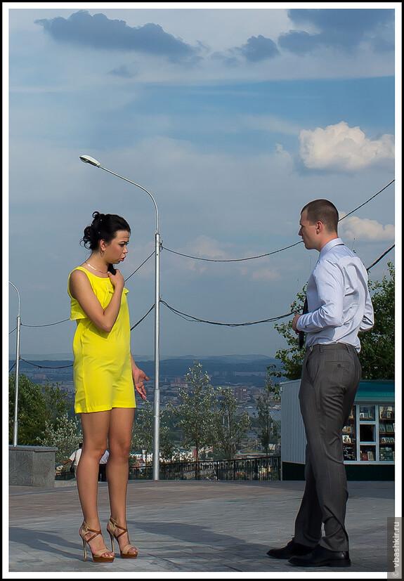 Женско-мужской спор с желто-синих тонах