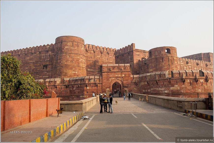 Уже подходя к главному входу в форт, можно оценить масштаб этого шедевра инженерной мысли. Его начали возводить во второй половине 16 века, когда столица империи была перенесена из Дели в Агру. Инициатором строительства был Акбар Великий. При его правлении в моде было возводить строения из красного песчаника. Поэтому форт такой красный. Впрочем, его и именуют Red Fort.