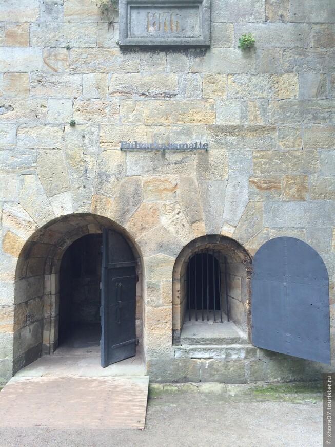 Центральный вход в пороховой склад . Крепость Кёнигштайн , Саксония , Германия .