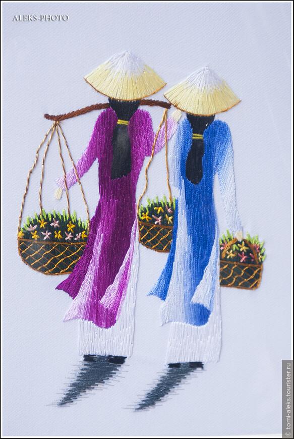 Вышивка шелковыми нитками - это прямо национальный вид искусства Вьетнама. Туристам предлагается огромное количество картин и картинок всех размеров. И стоят такие вышивки очень дорого. Я так и не рискнул купить хоть одну вышивку на память - цена кусалась. Мы привезли другие сувениры...