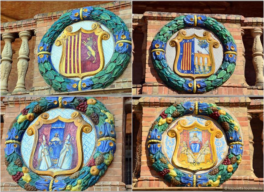 Каждая провинция Испании  почти 100 лет назад сделала панно, посвященное своей истории, герб  и географическую  карту.