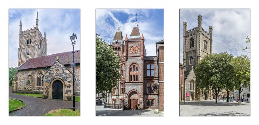 Церковь St. Laurence Church,справа и слева. В центре-городская ратуша.