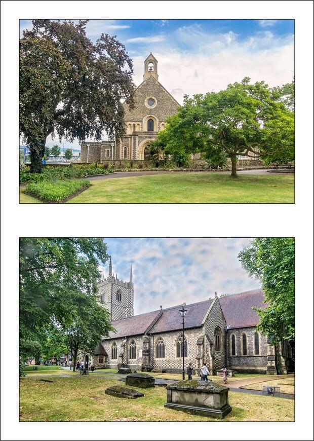 Верхний кадр- Greyfriars church.   Нижний кадр-  St. Laurence Church.