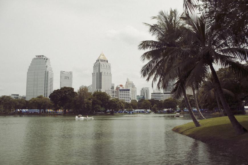 В парке Люмпини было приятно скрываться от жары, бродить по узким тропинкам и подглядывать за будничной жизнью тайцев.