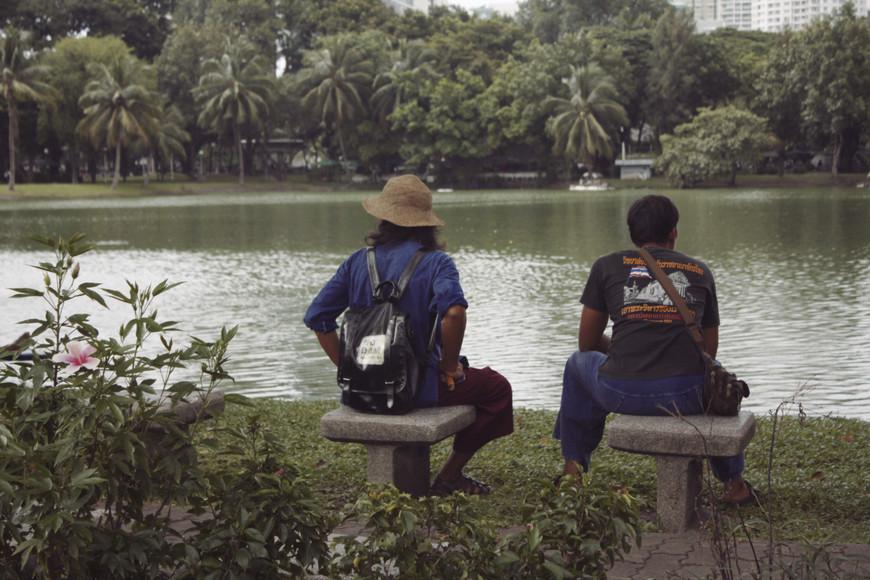 Некоторые прятались под деревом с книжкой, некоторые наблюдали за толстыми и ленивыми варанами, что разгуливали по территории парка.