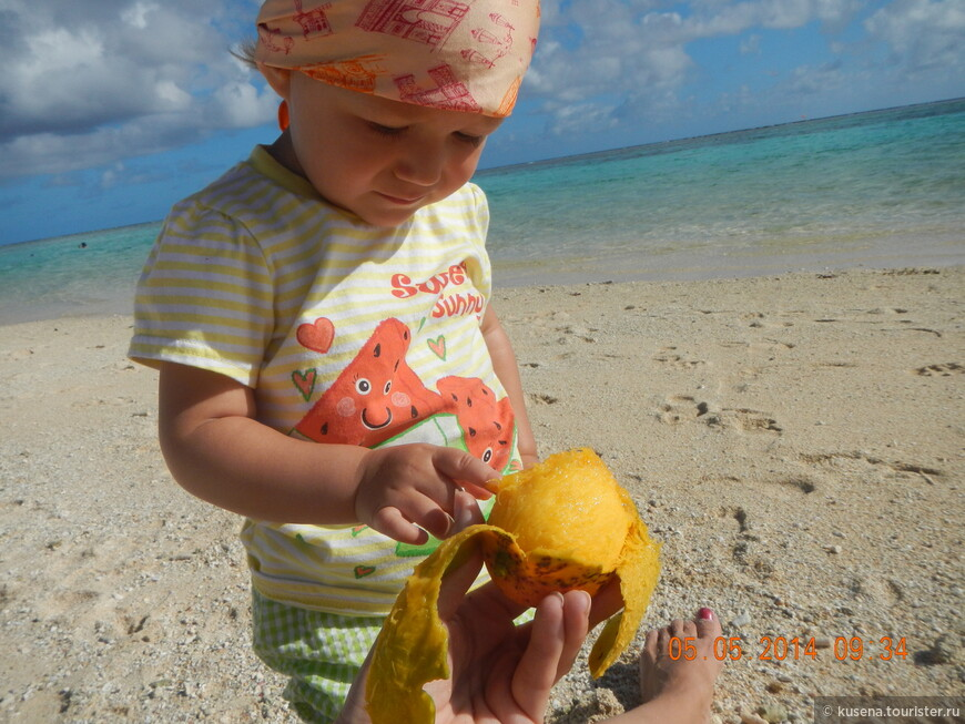 Пробуем манго, сорвали тут же с дерева на пляже