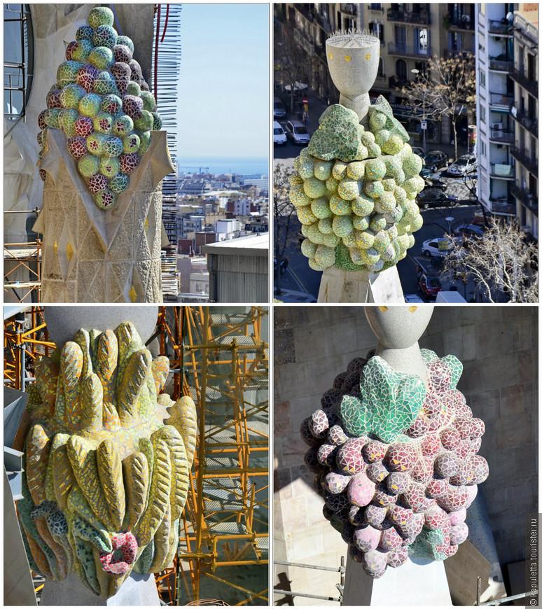Вообще, мозаик наверху очень много... Плоды на пинаклях символизируют благие дела)))