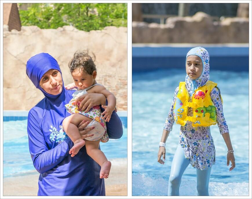 мусульманские девочки,не зависимо от возраста,одевают закрытые купальные костюмы..что ж! таковы обычаи!