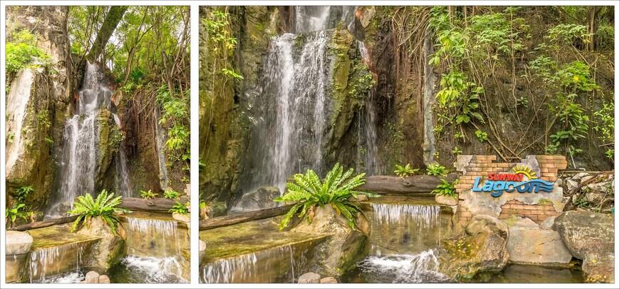 Украшение парка-многочисленные водопады.