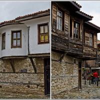 Традиционные дома с каменным низом и нависающим деревянным верхом.
