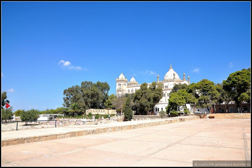 Собор построен в мавританском стиле в 1890 г. и посвящен святому Луи Французскому (Королю Людовику IX), погибшему здесь в 1270 во время осады Туниса. Это самая крупная церковь в Африке, до 1965 г. здесь располагалась резиденция архиепископа Карфагенского, примаса Африки.
