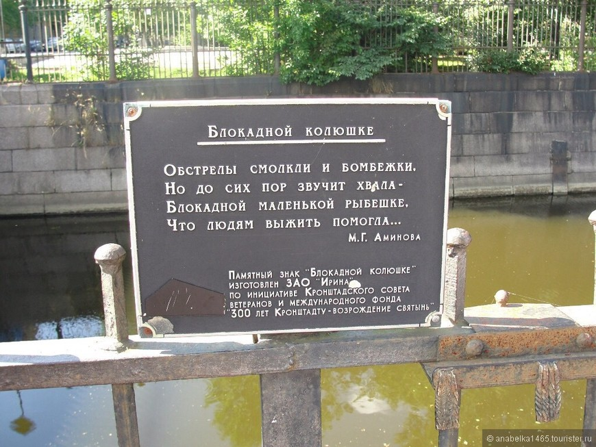 Памятник блокадной колюшке.   На стене Обводного канала около Синего моста закреплен памятник рыбке колюшке. В годы блокады эта маленькая колючая рыбка помогала тысячам людей, жившим в Кронштадте, преодолеть страшный голод. Когда запасы еды были на исходе, а всю более крупную рыбу в окрестностях выловили, жители острова Котлин придумали нехитрые блюда из крохотной колюшки.  Колюшка - очень маленькая рыбка с колючками на спине, которую рыбак даже на корм котам не возьмет. Вместо чешуи ее бока покрыты костными пластинками, как панцирем. Перед спинным плавником и на брюхе - по три шипа.