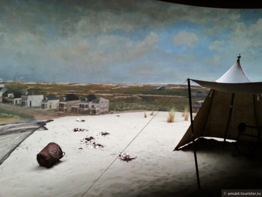 На картина - панораме изображен вид на Северное море, открывавшийся тогда с самой высокой дюны Схевенингена, которая называется Seinpostduin.