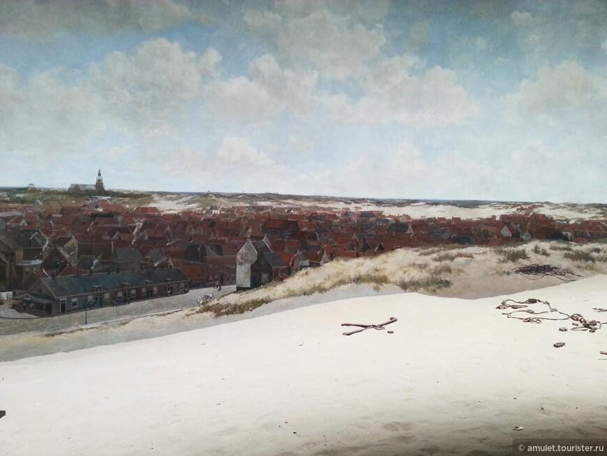 для ощущения моря и прибрежных районов, у картины насыпан настоящий песок и предметы рыболовства