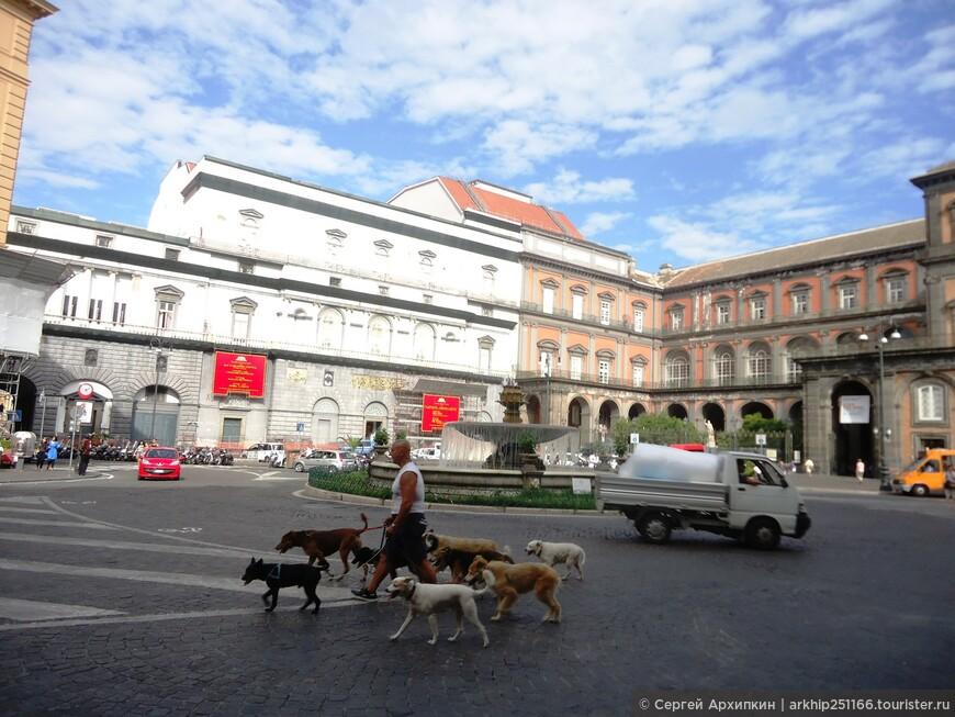 31 июля 2014 года - я целый день посвятил Неаполю и к этому времени уже осмотрел Археологический музей, кладбище Фонтанелли, катакомбы Сан-Дженнаро и дворец и парк Каподимонте на севере Неаполя. От-туда я приехал на автобусе на площадь Данте, а далее направился в  сторону Королевского дворца к морю. Я скоро вышел на площадь к театру Сан-Карло, который соединен с королевским дворцом (на фото)