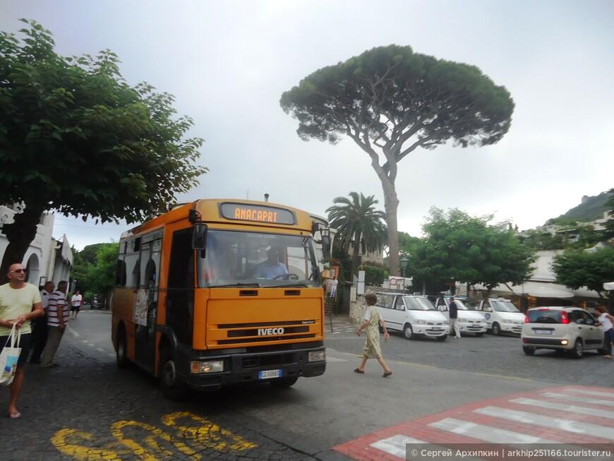 Через 15-20 минут петляя по узкому серпантину дорог мы поднялись наверх на этом небольшом автобусе, где началом городка является остановка - площадь - Piazza Vittirio.