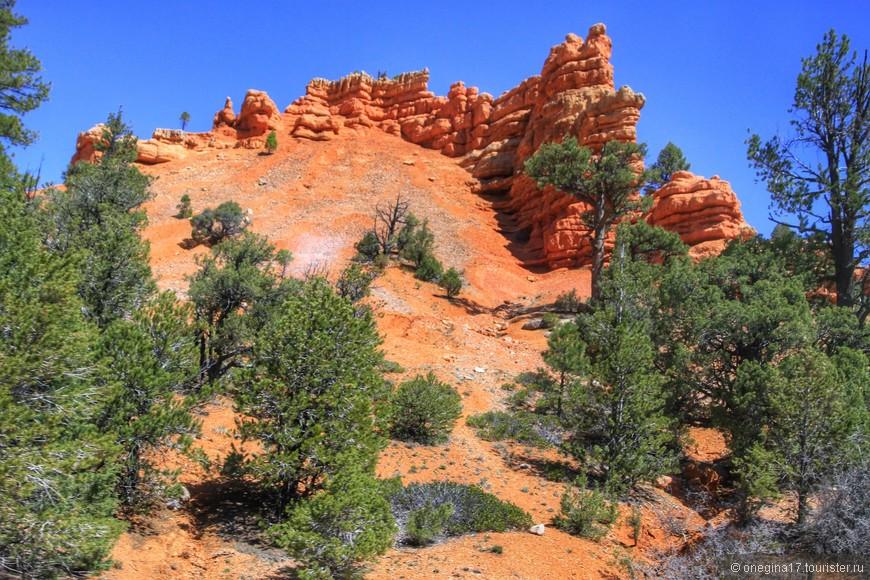 На подъезде к каньону скалы меняют цвет на оттенки оранжевого.