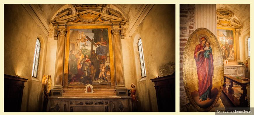 Рядом с алтарем находится каменный триптих Мадонны с Младенцем на троне между святыми