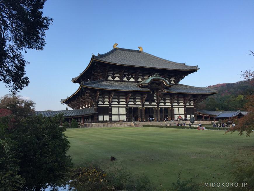 Главное здание комплекса - павильон Большого Будды - Дайбуцудэн. Сейчас это самое большое деревянное сооружение в мире. Сам храм был основан в середине 8 века, но несколько раз разрушался и сгорал, поэтому нынешняя постройка Дайбуцудэна была завершена в самом начале 18 века.